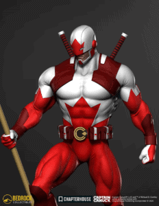 captain canuck statue render close