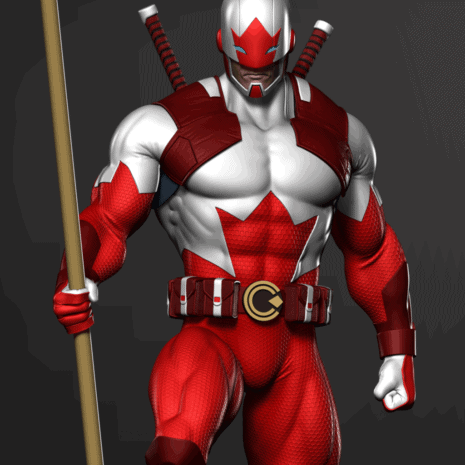 captain canuck statue render front