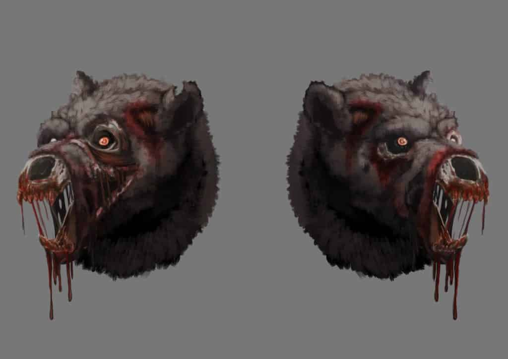 zombie bear concept art for statue