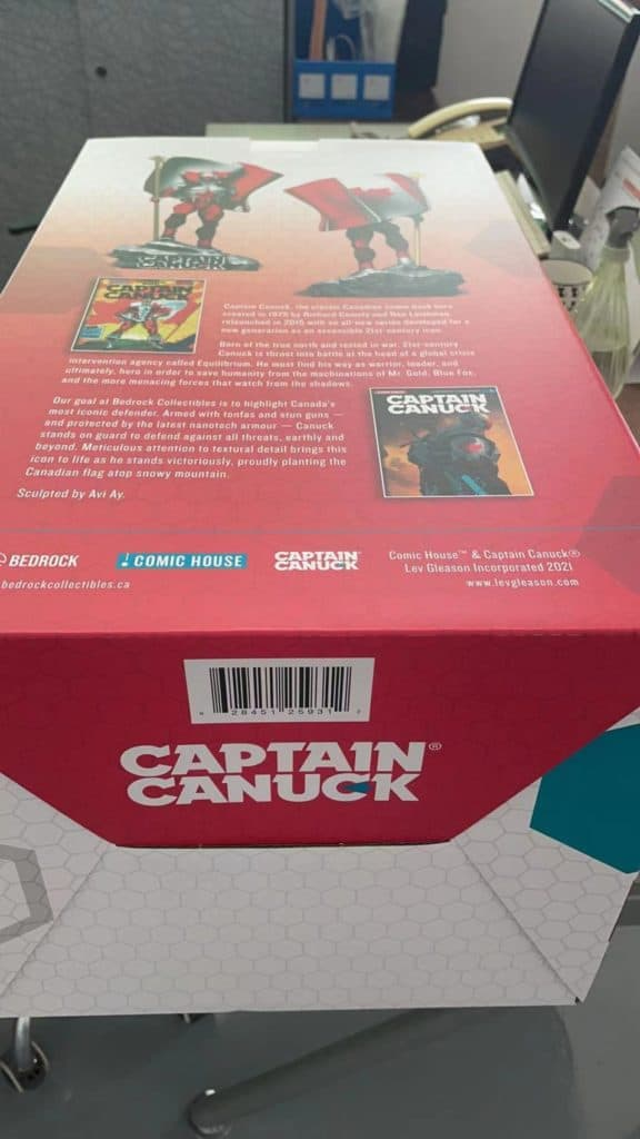Captain Canuck art box for 1/6 polystone statue. This 1:6 scale statue box art comes with a brief history of Captain Canuck
