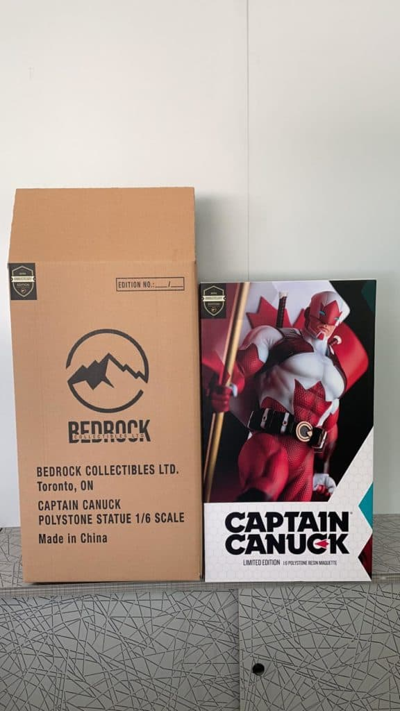 Production art box and brown shipper for Captain Canuck 1/6 Scale Statue by Bedrock Collectibles